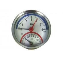 Термоманометр 10бар 120 С аксиальный Tim